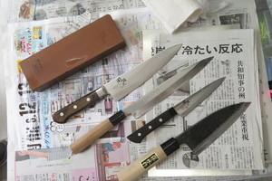 鹿児島市えりかトリミングスクールの研ぎ工房~肉、さしみ、野菜などの素材の繊維を傷つけずに切る包丁の研ぎ工程~